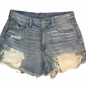 AE VINTAGE HIGH RISE RIPPED BLUE FESTIVAL SHORTS